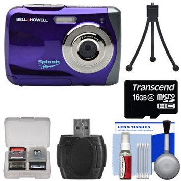 Bell & Howell Splash WP7 Waterproof Digital Camera (Purple) with 16GB Card + Tripod + Kit