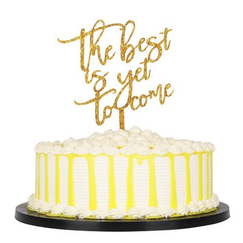 PALASASA Gold Glittery The Best is yet to Come Acrylic Wedding Cake Toppers Party Decoration