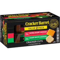 Cracker Barrel Extra Sharp Cheddar & Sharp White Cheddar Cheese Cracker Cuts Variety Pack 24-48 ct Boxes