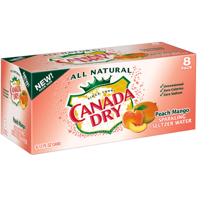 Canada Dry Peach Mango Sparkling Seltzer Water, 12 Fl Oz Cans, 8 Pack