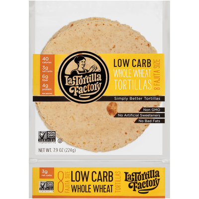 La Tortilla Factory™ Fajita Size Low Carb Whole Wheat Tortillas 7.62 oz. oz. Bag