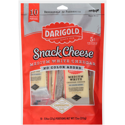 Darigold® Medium White Cheddar No Color Added Snack Cheese 10-0.75 oz. Packs