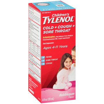 Children's Tylenol® Cold + Cough + Sore Throat Bubblegum Oral Suspension 4 fl. oz. Box