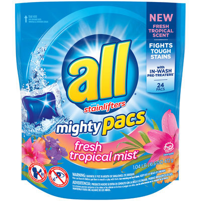 All® Fresh Tropical Mist® Mighty Pacs® Laundry Detergent 16.6 oz. Pouch