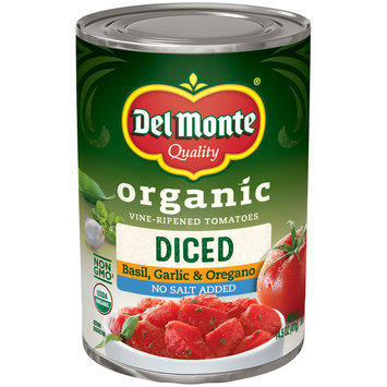 Del Monte® Organic Vine-Ripened Basil, Garlic & Oregano Diced Tomatoes No Salt Added