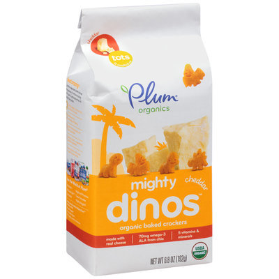 Plum® Organics Cheddar Mighty Dinos™ Organic Baked Crackers 6.8 oz. Stand Up Bag