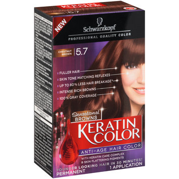 Schwarzkopf Keratin Color Sensational Browns Anti-Age Hair Color 5.7 Chestnut Brown 6 pc Kit