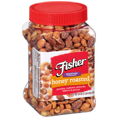 Fisher® Honey Roasted Mixed Nuts with Peanuts 24 oz. Plastic Container