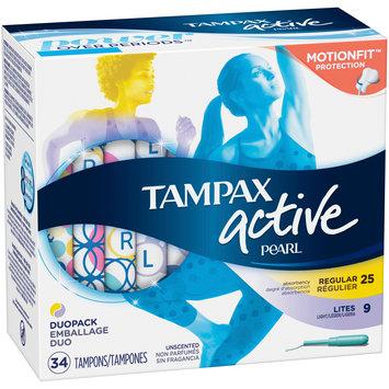 Tampax Pearl Active Regular & Lites Unscented Tampons 34 ct Box