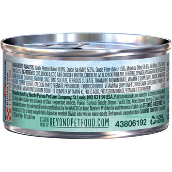 Purina Beyond Simple Origins Grain Free Pacific Cod, New England Herring & Spinach Recipe Cat Food 3 oz. Can