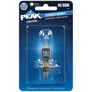 PEAK® Lighting Classic Vision™ Clear Halogen Lamp H1-55W Carded Pack