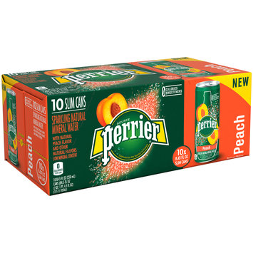 PERRIER Sparkling Natural Mineral Water, Peach 8.45-ounce cans (Pack of 10)