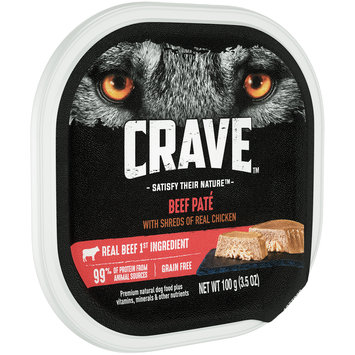 Crave™ Beef Pate Premium Dog Food 3.5 oz. Tray