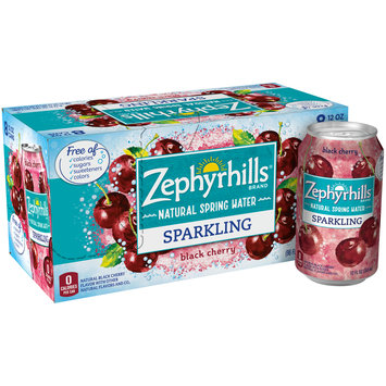 ZEPHYRHILLS Black Cherry Sparkling Natural Spring Water 12oz cans (Pack of 8)