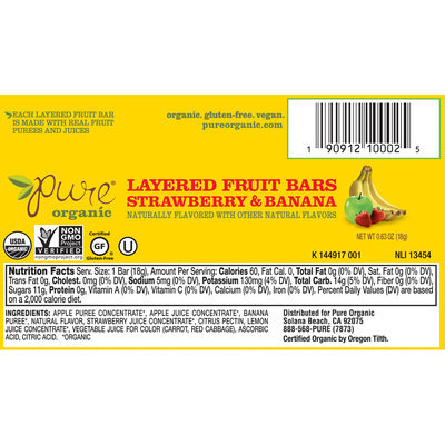 Pure® Organic Strawberry & Banana Layered Fruit Bars 0.63 oz. Wrapper