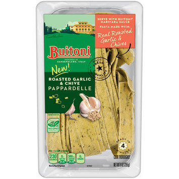 BUITONI Refrigerated Roasted Garlic and Chive Pappardelle Pasta no GMO 9 oz.