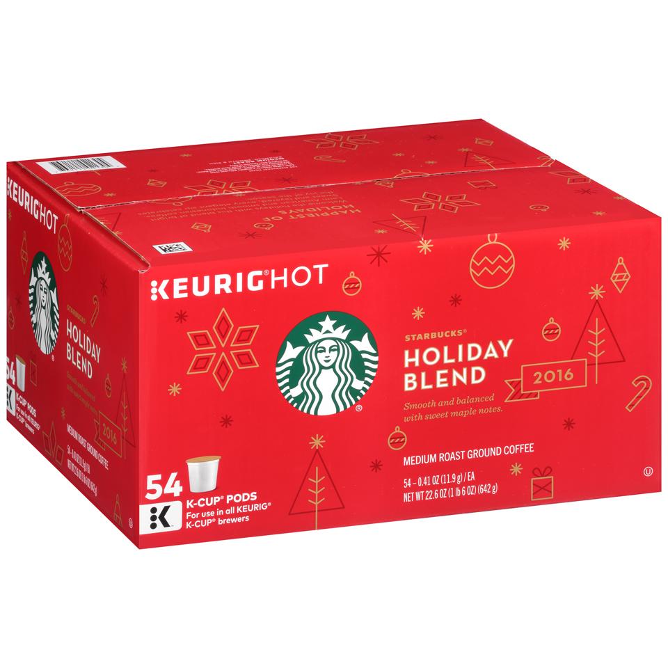 Starbucks® Holiday Blend Medium Roast Ground Coffee K-Cup® Pods 54 ct Box BJs Only