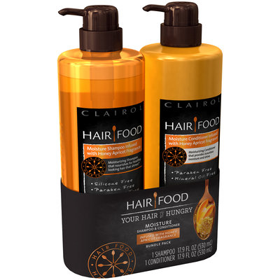 Infused w Honey Apricot Frag Hair Food Moisture Shampoo + Conditioner infused with Honey Apricot Fragrance 17.9oz Bundle Pack