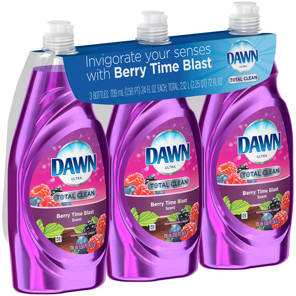 Ultra Dawn Ultra Total Clean Dishwashing Liquid Berry Time Blast Scent 3x24 Oz