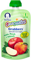 Gerber Graduates Grabbers Squeezable Fruit & Veggies Apple, Peach & Spinach, 4.23 Ounce Pouch (Pack of 12)