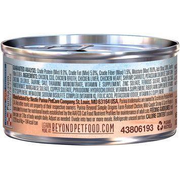 Purina Beyond Simple Origins Grain Free Farm-Raised Chicken, Wild Caught Shrimp & Carrot Recipe Cat Food 3 oz. Can