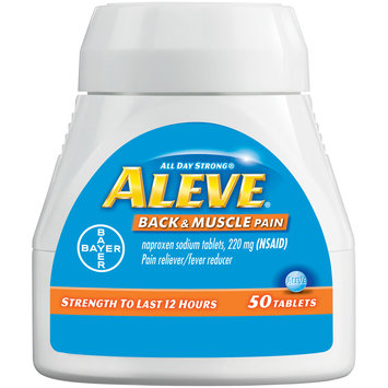 Bayer Aleve® All Day Strong® Back & Muscle Pain Naproxen Sodium Tablets 220mg (NSAID) Pain Reliever/Fever Reducer 50 ct Box