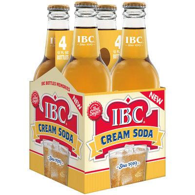 IBC Cream Soda Made with Sugar, 12 Fl Oz Glass Bottles, 4 Pack