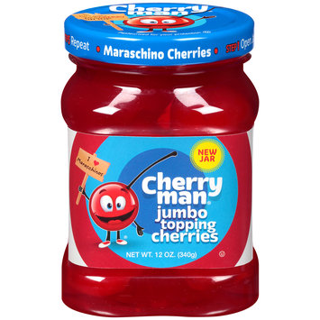 CherryMan® Jumbo Topping Maraschino Cherries 12 oz. Jar