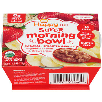 Happy Tot® Organic Bananas & Strawberries Oatmeal & Sprouted Quinoa Super Morning Bowl 4.5 oz. Sleeve