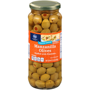 Kroger® Reduced Sodium Manzanilla Olives Stuffed with Pimiento 13.5 oz. Jar