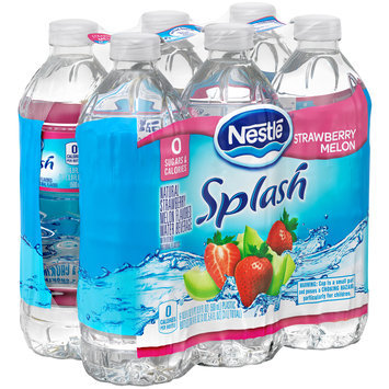 NESTLE SPLASH Water Beverages with Natural Fruit Flavors, Strawberry Melon 16.9-ounce plastic bottles