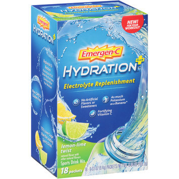Emergen-C® Lemon-Lime Twist Hydration™ + Electrolyte Replenishment Sports Drink Mix 18-0.33 oz. Packets