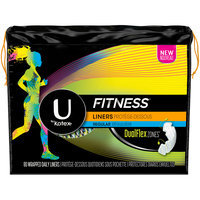 U by Kotex Fitness Panty Liners, Light Absorbency, Regular, Unscented 80 ct Pack