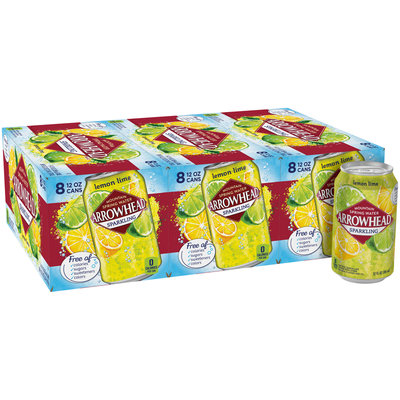 Arrowhead Lemon Lime Sparkling Mountain Spring Water 8-12 fl. oz. Cans