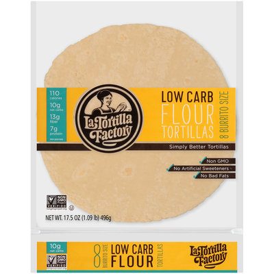 La Tortilla Factory™ Burrito Size Low Carb Flour Tortillas 8 ct Bag