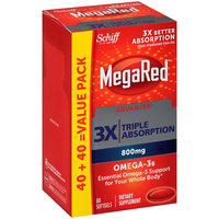 Schiff® MegaRed® Advanced 3x Triple Absorption Omega-3s Dietary Supplement 800mg Softgels 80 ct Box