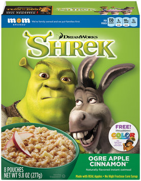 Mom Brands® DreamWorks Shrek Ogre Apple Cinnamon™ Instant Oatmeal 9.8 oz. Box