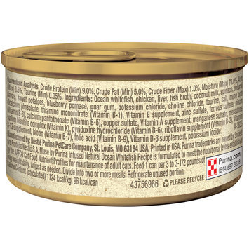 Muse by Purina Infused Adult Grain Free Pate Natural Ocean Whitefish Recipe Cat Food 3 oz. Can