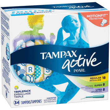 Tampax Pearl Active Regular, Super & Lites Unscented Tampons 34 ct Box