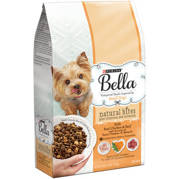 Purina Bella Natural Bites Plus Vitamins and Minerals With Real Chicken & Beef and Accents of Sweet Potatoes & Spinach Adult Dry Dog Food – 3 lb. Bag