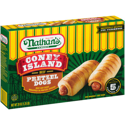 Nathan's® Famous Coney Island Beef Pretzel Hot Dogs 20 oz. Box
