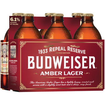 Budweiser® Amber Lager Beer 6-12 fl. oz. Glass Bottles