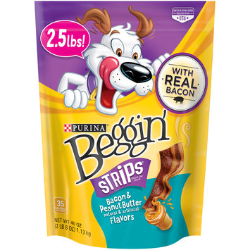 Purina Beggin' Strips Bacon & Peanut Butter Flavors Dog Snacks 40 oz. Pouch