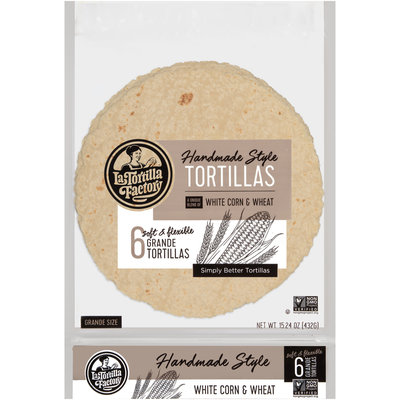 La Tortilla Factory™ White Corn & Wheat Grande Handmade Style Tortillas 6 ct Bag