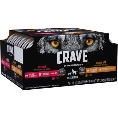 Crave™ Beef Pate/Chicken Pate Premium Dog Food 12-3.5 oz. Trays