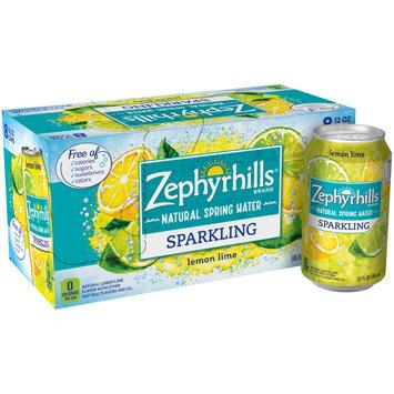 ZEPHYRHILLS Lemon Lime Sparkling Natural Spring Water 12oz cans (Pack of 8)