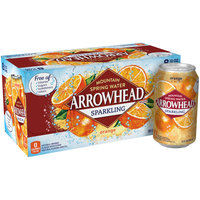 ARROWHEAD Orange Sparkling Mountain Spring Water 12oz cans (Pack of 8)