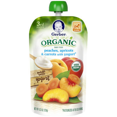 Gerber® 3rd Foods® Organic Peaches, Apricots & Carrots with Yogurt Baby Food 4.23 oz. Pouch (Pack of 12)