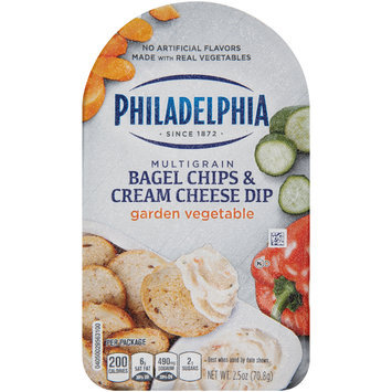 Philadelphia Multigrain Bagel Chips & Garden Vegetable Cream Cheese Dip 2.5 oz. Tray