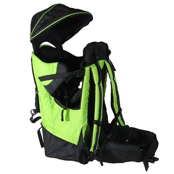 Clevr Deluxe Baby Toddler Backpack Cross Country Lightweight Carrier with Stand Child Kid Sun Shade Visor, Green